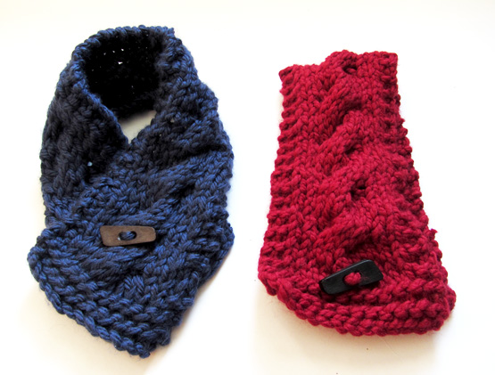 red and blue knit scarves